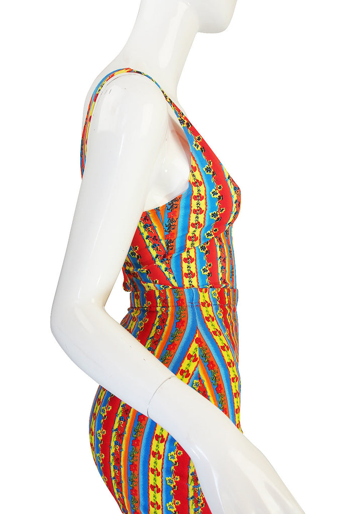 1990s Versace Jeans Couture Low Back Body Suit & Skirt