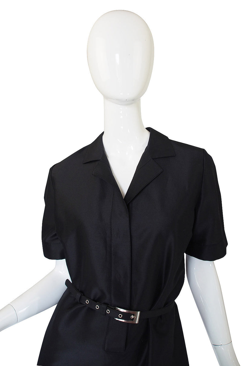 1990s Mila Schon Black Shift Dress & Belt