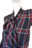 1979 Haute Couture Plaid Silk Yves Saint Laurent Top