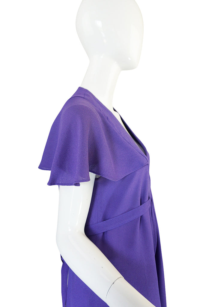 1970s Ossie Clark for Radley Purple Moss Crepe Dress