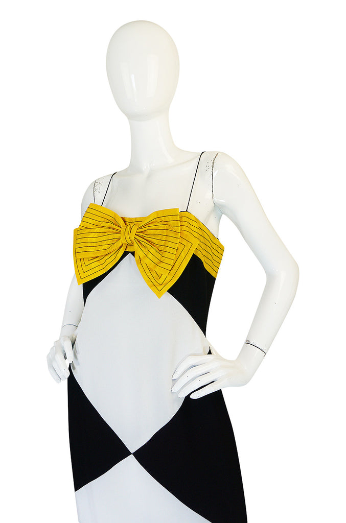Graphic 1980s Bill Blass Black & White Diamond Bow Dress
