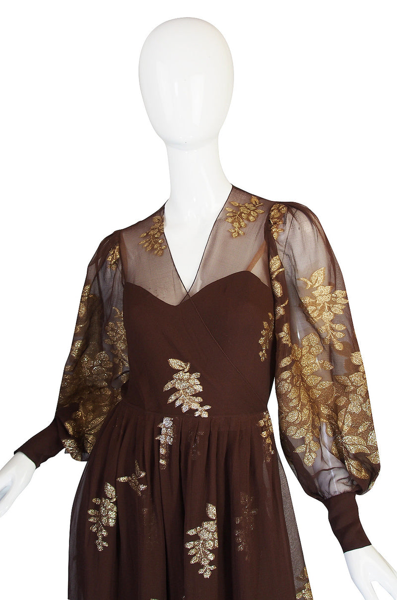 1970s Haute Couture Yves Saint Laurent Metallic Dress