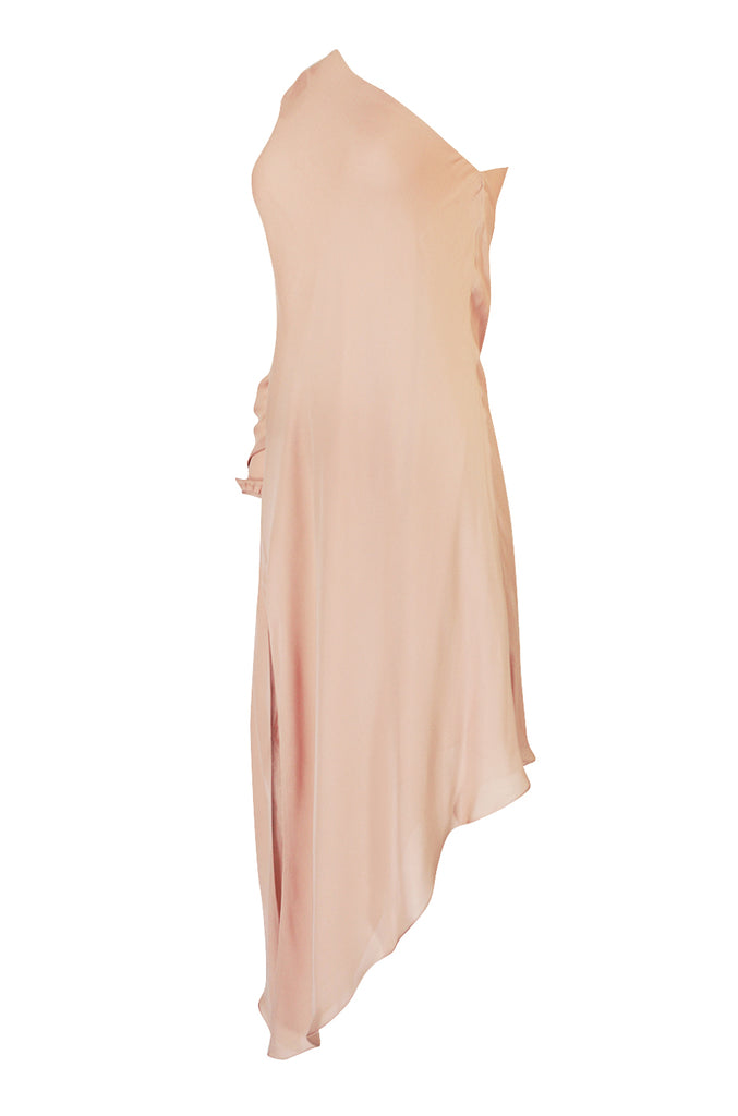2016 Michelle Mason Nude Bias Cut Silk One Shoulder Dress