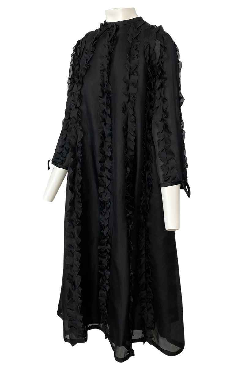 Museum Held 1969 Courreges Black Silk Organza Ruffle Detailed Dress