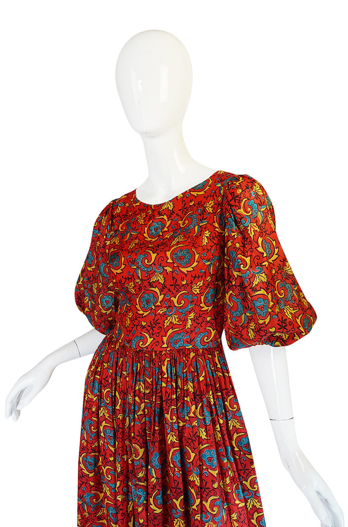 Beautiful 1960s Thai Silk Red Print Full Length Dress