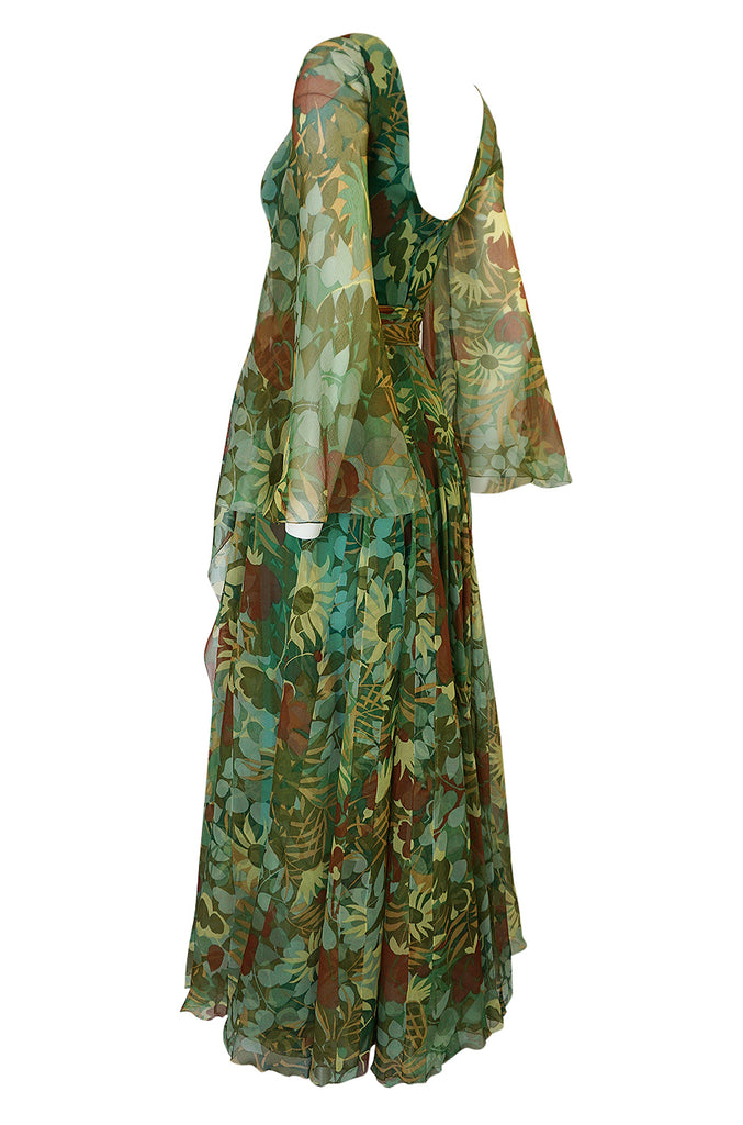 1970s Stavropoulos Couture Floral Print Silk Dress w Pleated Skirt