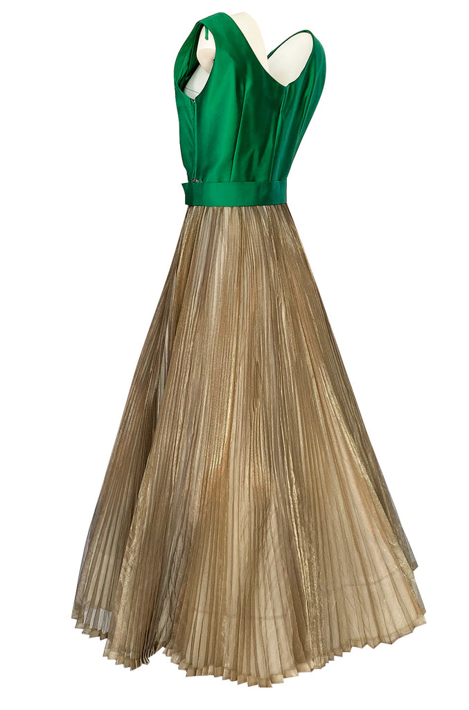 c.1954 Jeanne Lanvin Castillo Haute Couture Emerald & Gold Organza Dress
