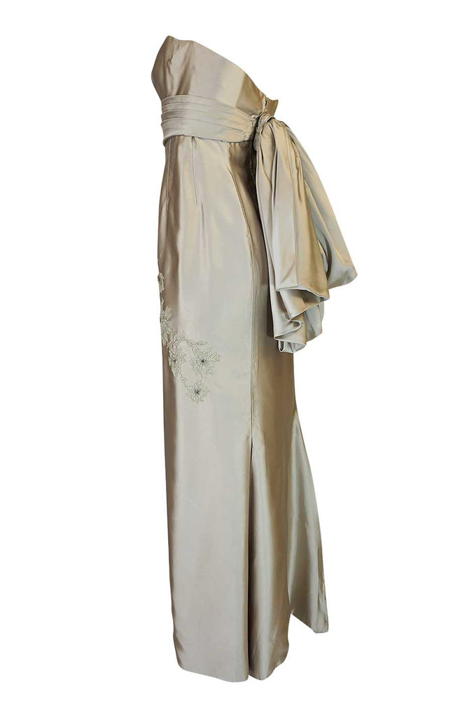 1950s Helena Barbieri Champagne Silk Satin Beaded Dress