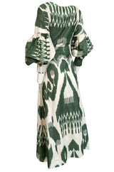 2018 Zazi Handmade Vintage Green & Ivory Cotton Ikat Caftan Dress