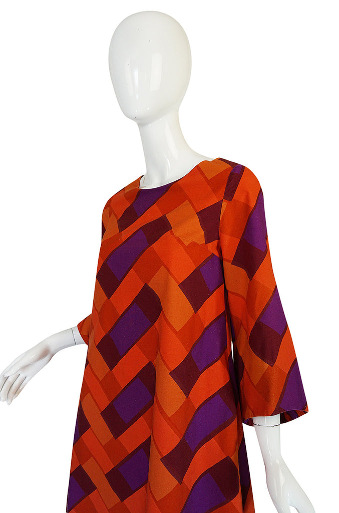 1960s Unusual Marrimekko Curved Hem Graphic Print Dress