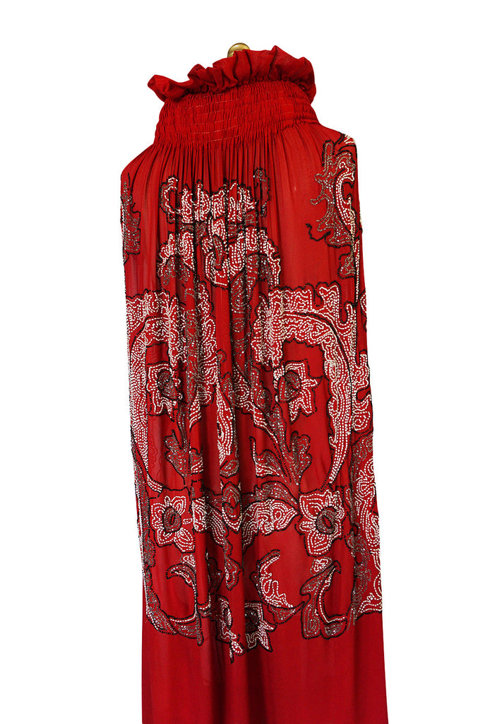 1920s House of Adair Densely Beaded Red Silk Cape
