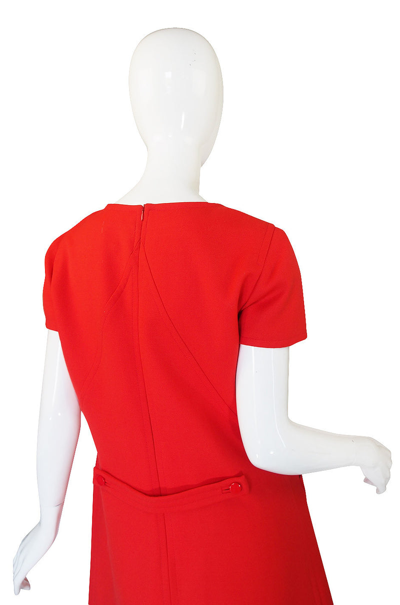 1980s Red Seamed Courreges Shift Dress