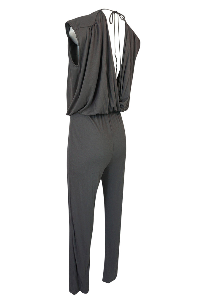 S/S 2009 Halston Grey Jersey Plunge Front and Back Jumpsuit