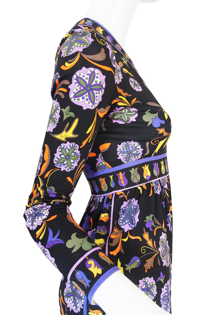 1960s Black Print Silk Jersey Emilio Pucci Dress