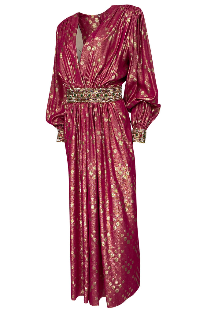 1980s Adele Simpson Pink & Gold Metallic Lame Beaded Dress w Beading