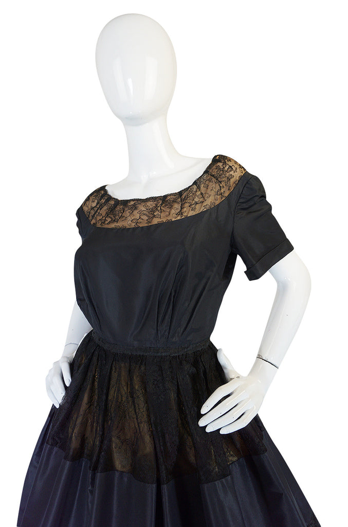 c1959 Gustave Tassel Couture Fine Silk Taffeta and Lace Dress