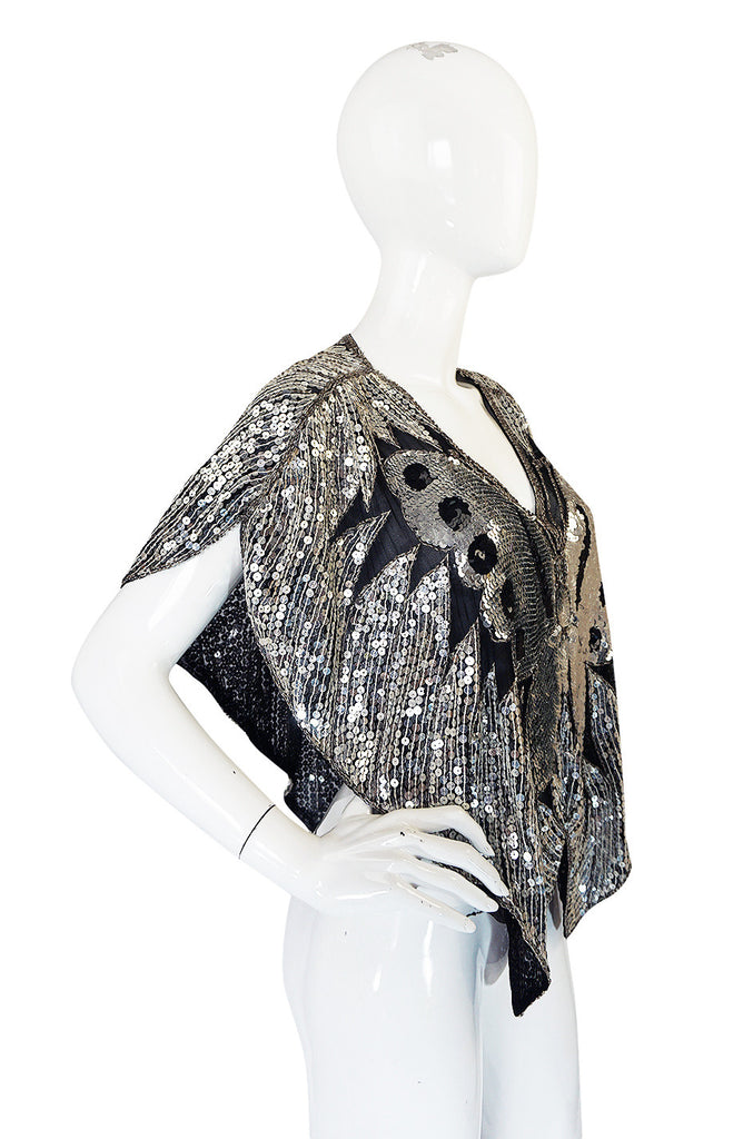 Now On Sale - 1970s Silver Sequin Butterfly Cape or Top