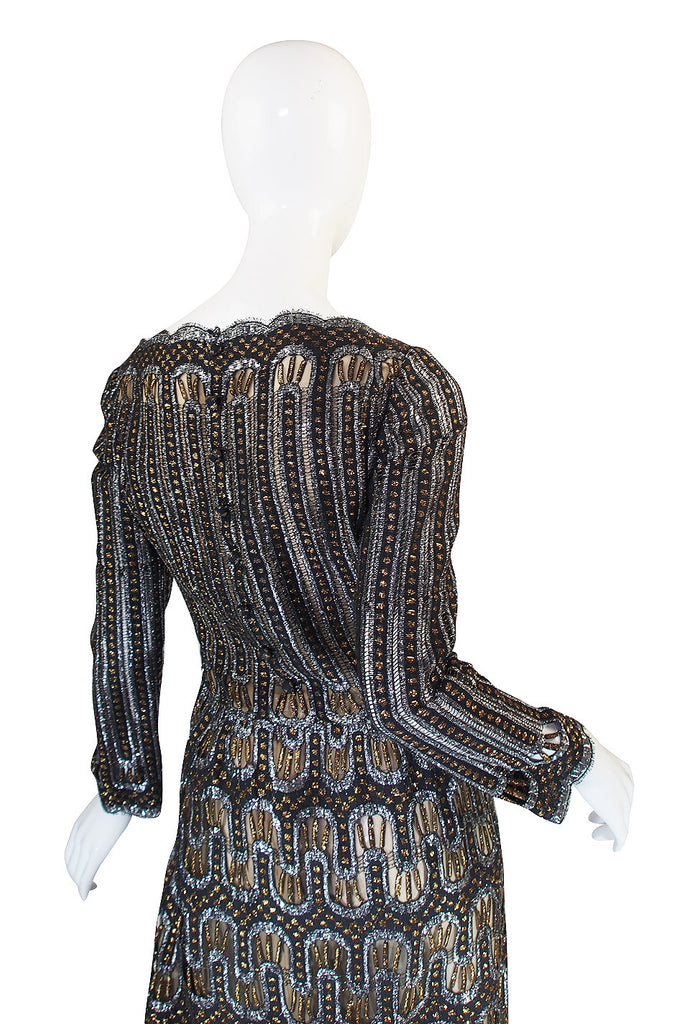 1960s Metallic Pauline Trigere Dress with Cut Outs