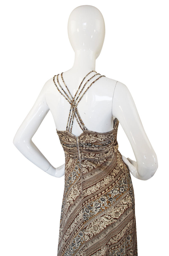 1970s Joy Stevens Multi Strap Halter Dress