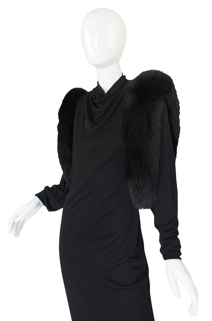 1980s Lillie Rubin Fur Shoulder Gown