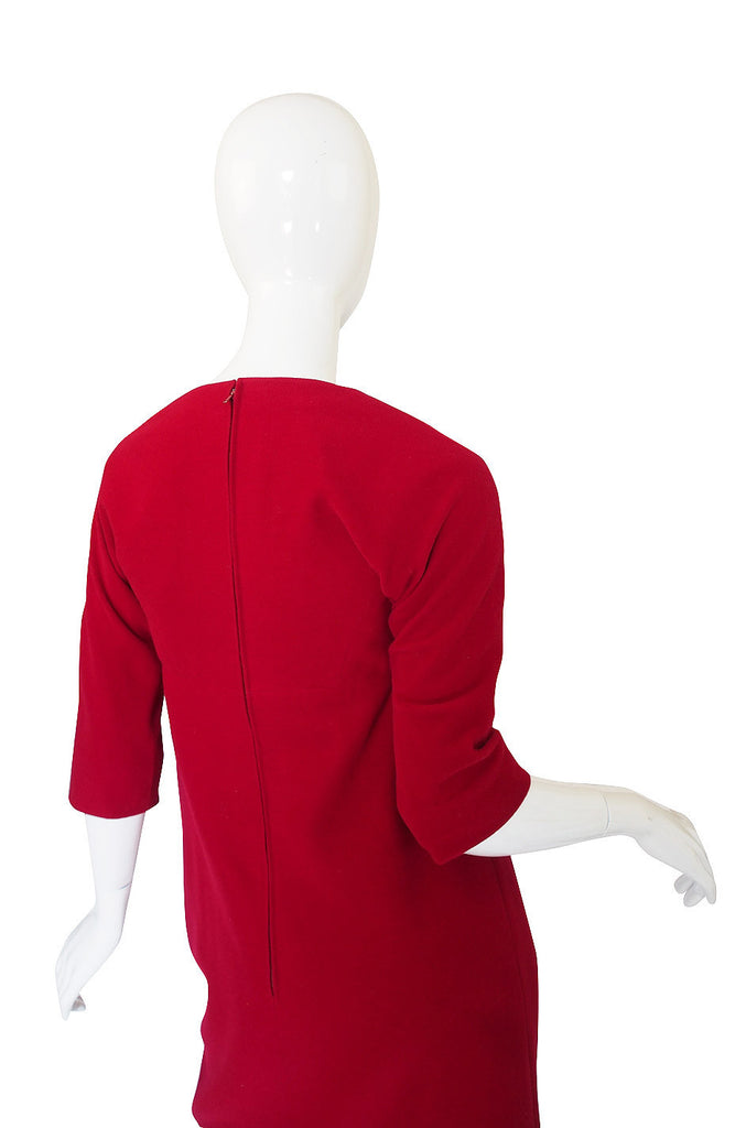 Rare 1959 James Galanos Red Felt Dress