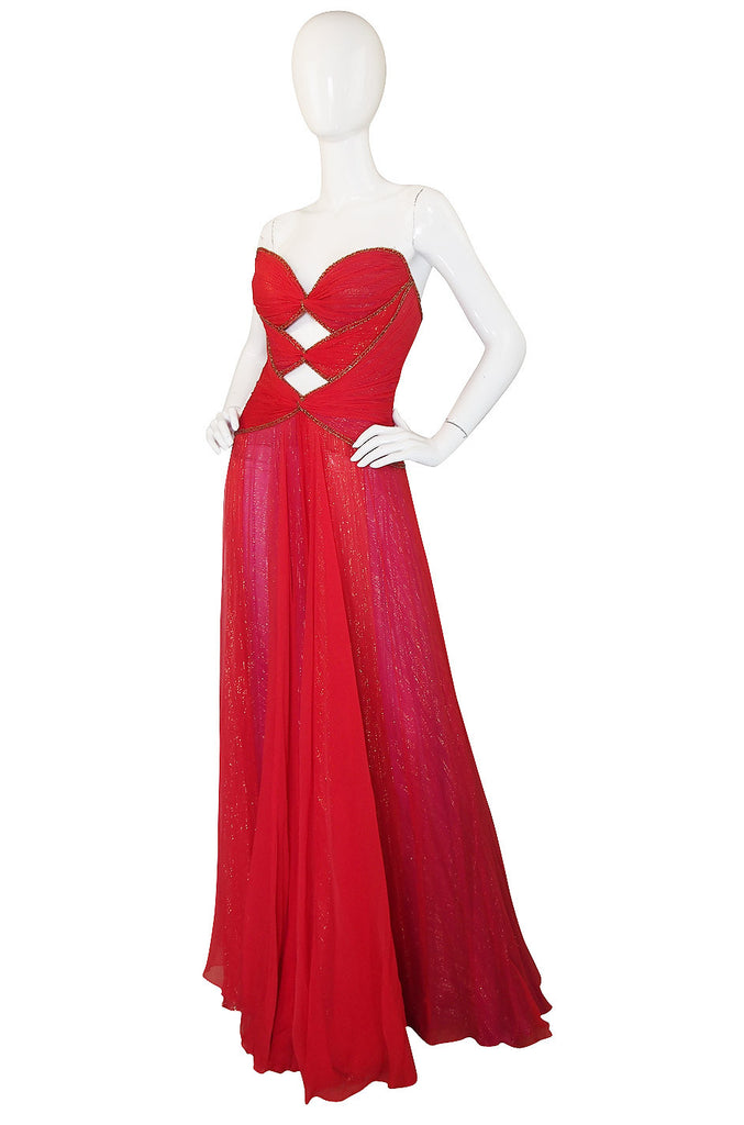 1970s Red & Gold Bob Mackie Cut Out Gown