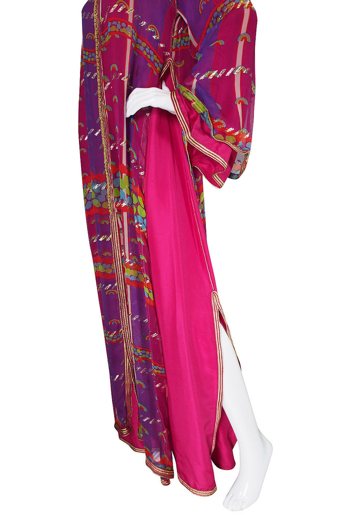 1960s Vivid Pink Silk and Gold Braid Rainbow Caftan