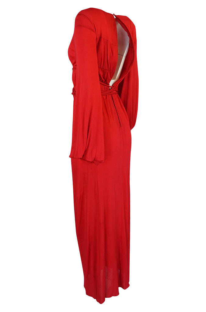 Documented 1973 Bill Blass Couture Tie Detailed Red Silk Jersey Dress