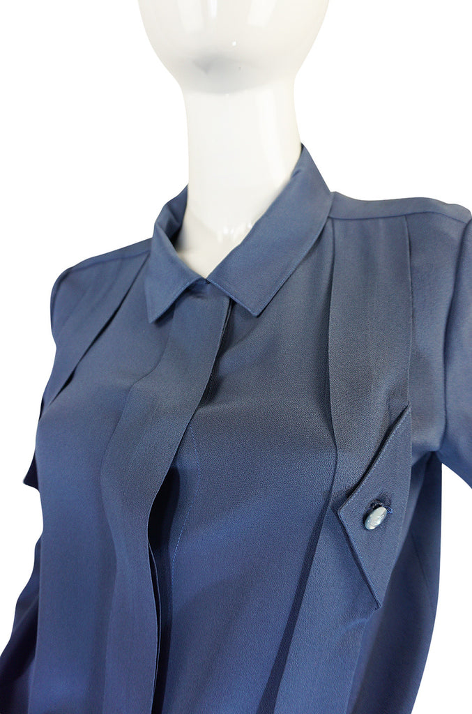 1980s Karl Lagerfeld Blue Silk Button Front Top