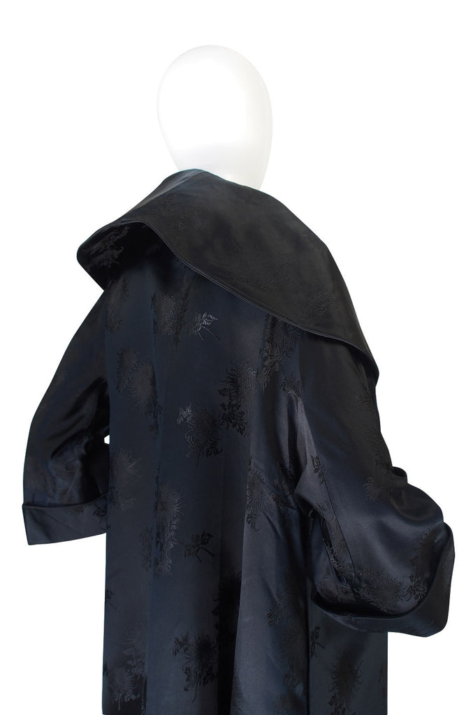 Dramatic 1950s Woven Floral Black Silk Opera Coat