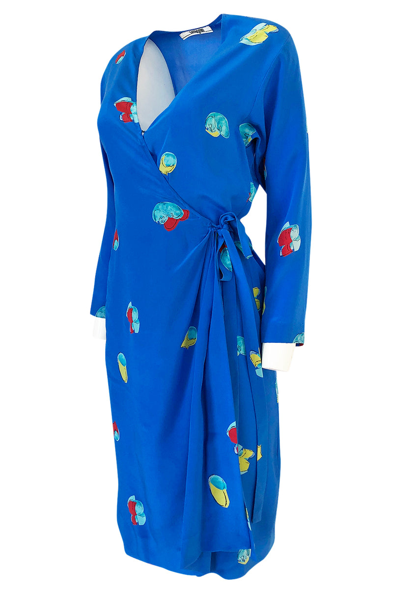 Spring 1977 Halston Abstract Print Blue Silk Wrap Day Dress