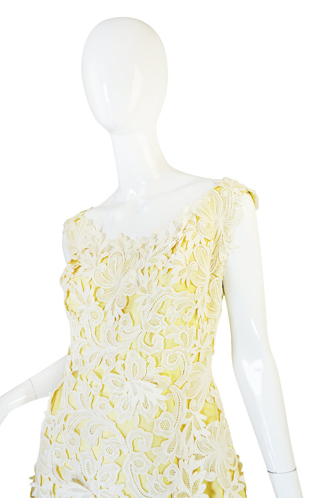 1960s Lace Overlay Sara Fredericks Sculptural Silk Dress