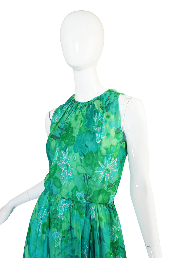 1960s Green Print Roger Freres Silk Chiffon Dress