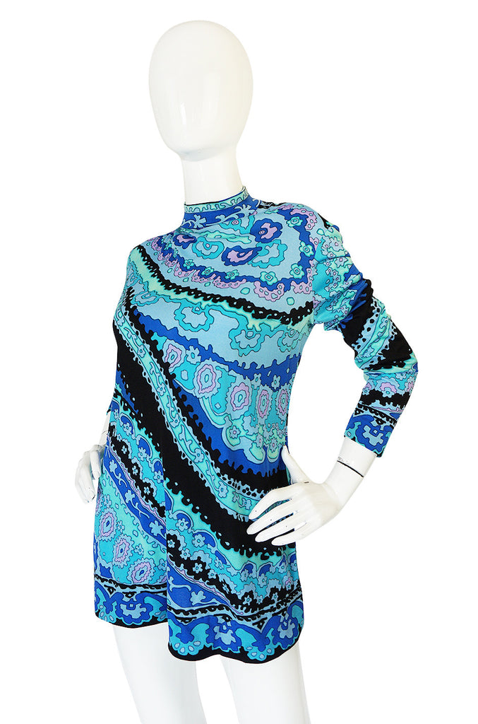 1970s Blue Print Leonard Silk Jersey Tunic or Mini Dress