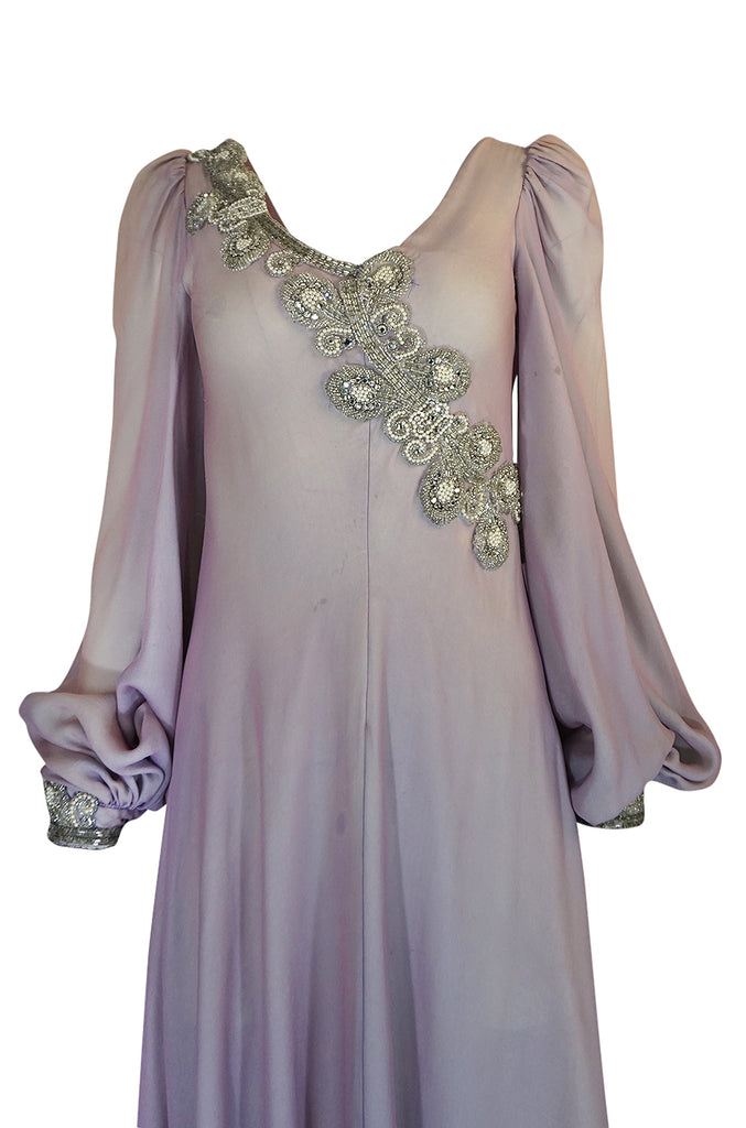 1970s Stavropoulos Couture Layered Bias Cut Silk Chiiffon Dress