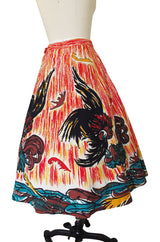 1950s Beaded & Hand Painted Mexican Circle Skirt