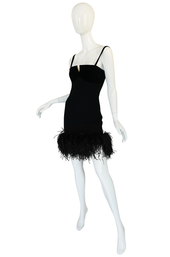 1980s Dramatic Feathered Louis Feraud Dress and Jacket