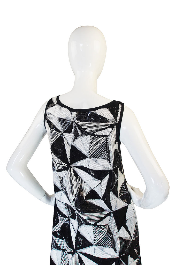 Recent Fendi Black and White Sequin Shift Dress