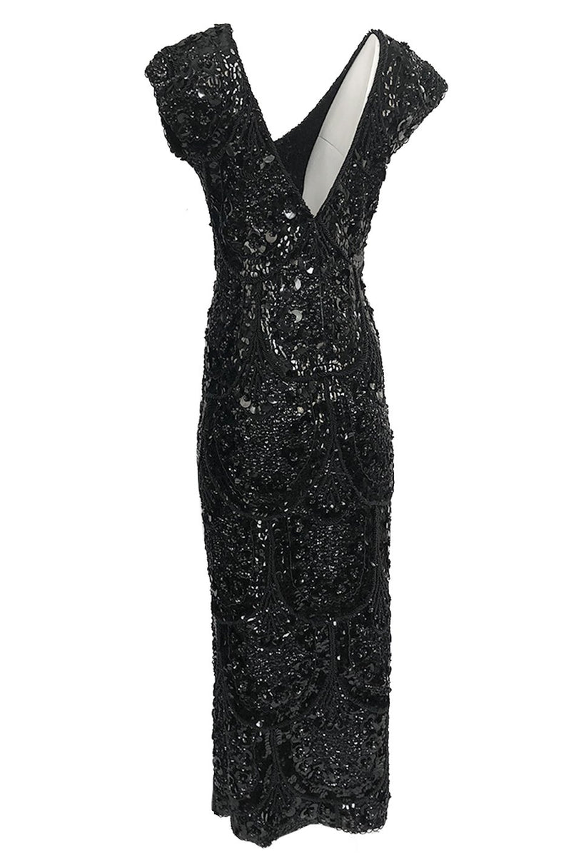 1960s Unlabeled Dense 3D Glossy Black Bead & Sequin Covered Dress