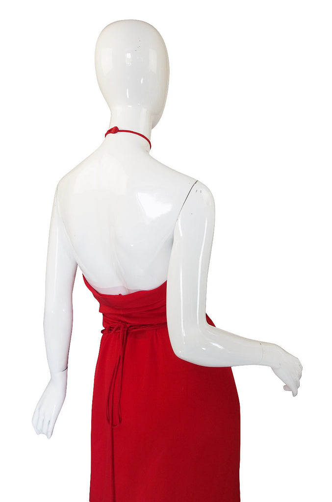 1970s Bill Blass Red Silk Halter Top & Skirt