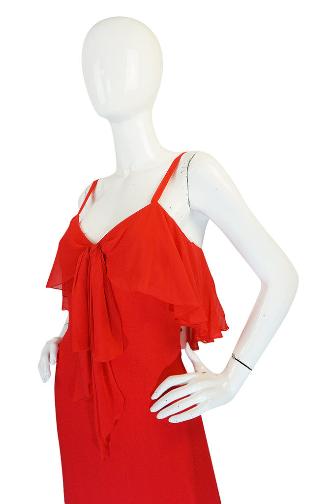 Unworn 1970s Red Silk Chiffon Tiered Ruffle Skirt Dress