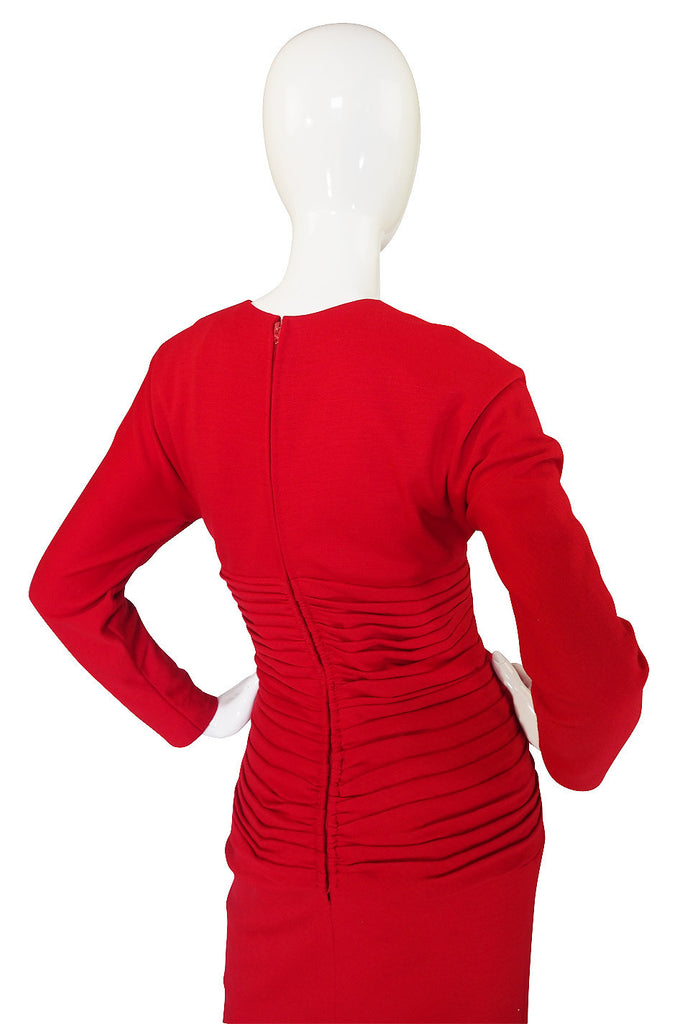 1980s Carolyne Roehm Fitted Red Dress
