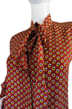1970s Yves Saint Laurent Pretty Floral Silk Tie Neck Top