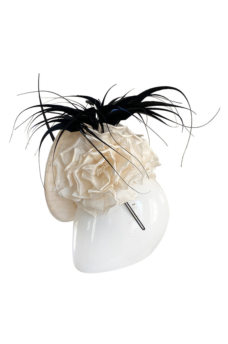 Bespoke 2001-2006 Philip Treacy Haute Couture Parasisal Feather & Silk Flower Topper Hat