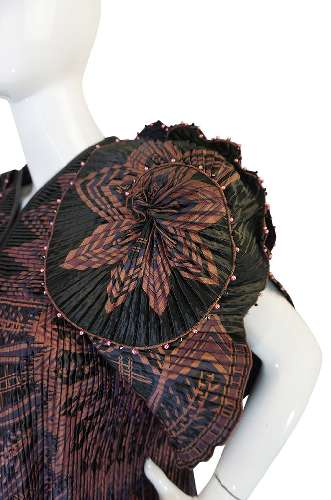 Iconic 1970s Zandra Rhodes Hand Painted Pleated Jacket