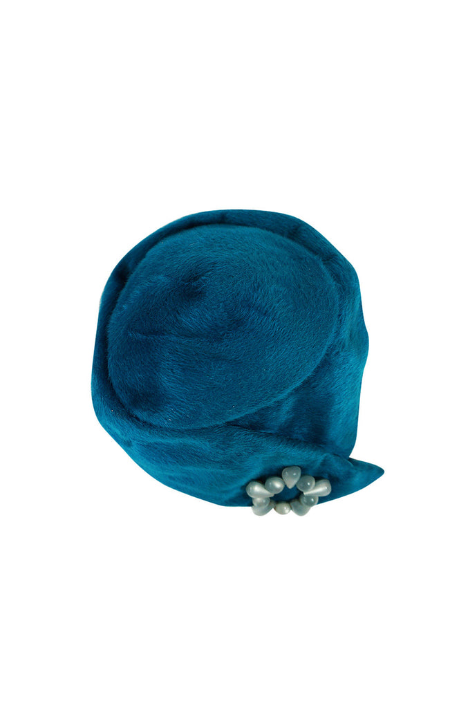 1960s Blue Miss Dior Pillbox Hat with Removeable Pin