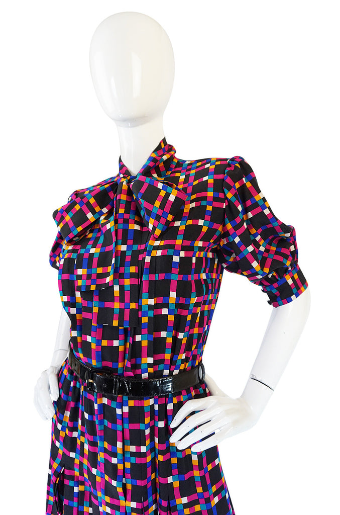 c1982 Haute Couture Yves Saint Laurent Silk Dress