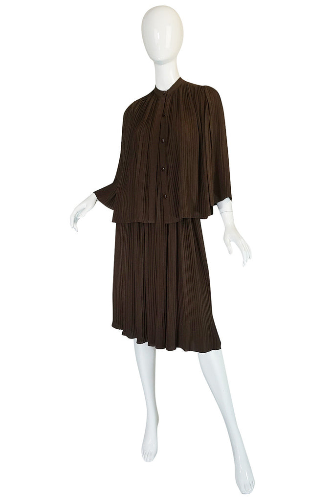 S/S 1976 Christian Dior Haute Couture Pleated Silk Dress Set