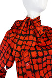 1970s Yves Saint Laurent Red & Black Top & Scarf