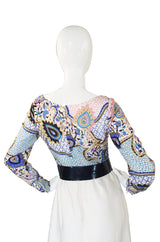 1970s Jean Varon Print Dress & Patent Belt